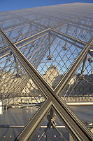 Glass pyramid by I. M. Pei in 1989, Pavillon Sully by Jacques Lemercier in 1639 in the background, Louvre Museum, Paris, France. Picture by Manuel Cohen