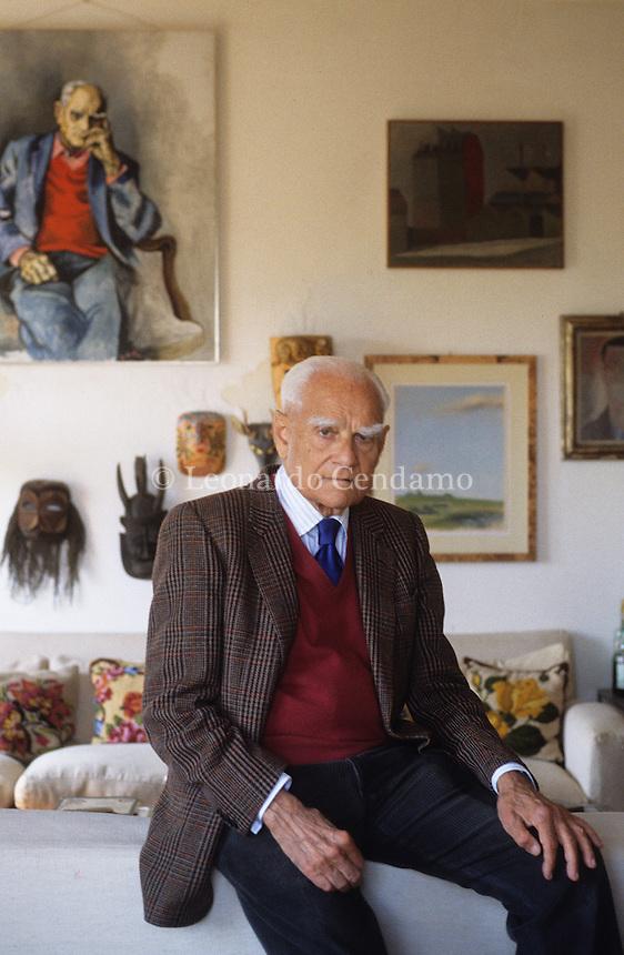 1990, Roma, Alberto Moravia, writer,  © Leonardo Cendamo