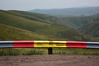 Road barrier by the road to Lowther Hill Radar Station from Wanlockhead, Southern Uplands, Scotland