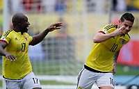 BARRANQUILLA - COLOMBIA -08-10-2015: James Rodriguez jugador de Colombia celebra después de anotar un gol a Bolivia durante partido de la fecha 13 para la clasificación a la Copa Mundial de la FIFA Rusia 2018 jugado en el estadio Metropolitano Roberto Melendez en Barranquilla. /  James Rodriguez  player of Colombia celebrates after scoring a goal to Bolivia during match of the date 13 for the qualifier to FIFA World Cup Russia 2018 played at Metropolitan stadium Roberto Melendez in Barranquilla. Photo: VizzorImage / IN / Cont