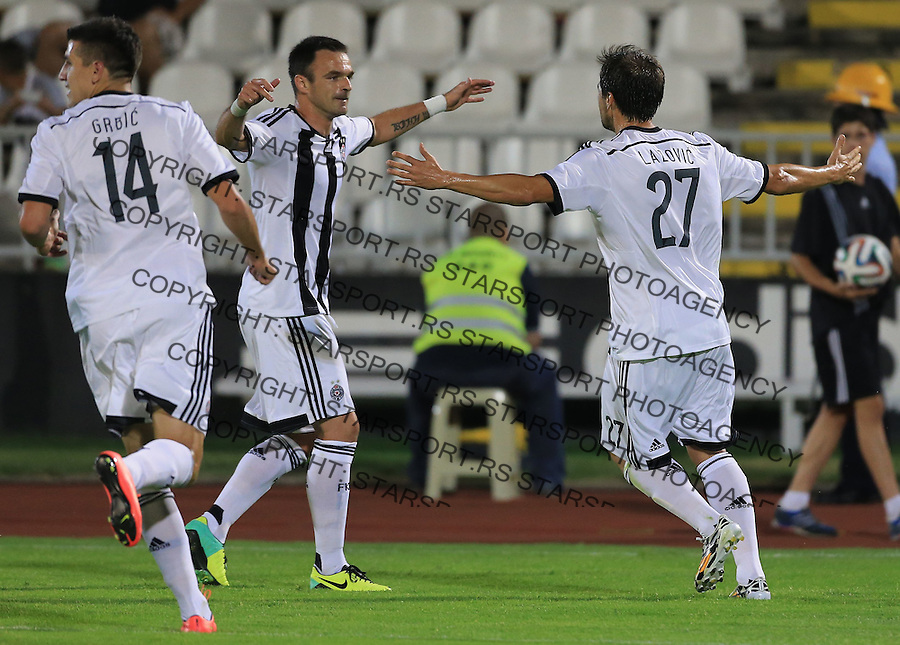 Fudbal Football Soccer<br /> UEFA Champions league-2nd qualifying round<br /> Partizan v HB Torshavn (Faroe Islands)<br /> Danko Lazovic (R) celebrate the goal with the Nikola Drincic<br /> Beograd, 07.15.2014.<br /> foto: Srdjan Stevanovic/Starsportphoto &copy;