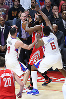 02/22/15 Los Angeles, CA: Houston Rockets guard James Harden #13, Los Angeles Clippers center DeAndre Jordan #6 and  guard J.J. Redick #4 in action  during an NBA game played at Staples Center.