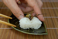 "Joro spider sushi.Tokyo resident Shoichi Uchiyama is the author of ""Fun Insect Cooking"". His blog on the topic gets 400 hits a day. He believes insects could one day be the solution to food shortages, and that rearing bugs at home could dispel food safety worries."