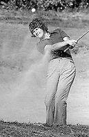 Claire Nesbitt, later known as Claire Robinson, Knock Golf Club, Belfast, N Ireland, Irish Ladies Golf Champion &amp; Ulster Ladies Golf Champion, August 1976, exits a bunker. 197608000372b<br />