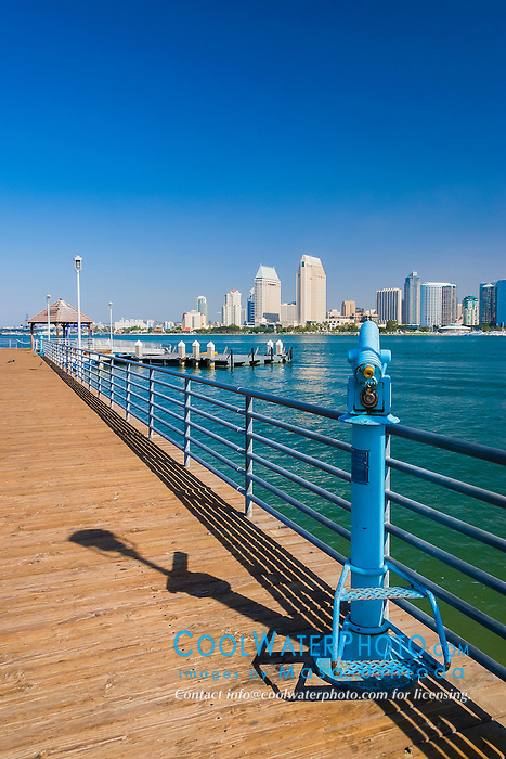 downtown San Diego, Coronado Broadway Pier, Coronado Island, San Diego, California, USA, Pacific Ocean
