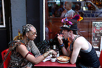 New York, USA. 28 June 2014. Men have a lunch while they take part in the gay pride parade 2014 in New York. Photo by Eduardo MunozAlvarez/VIEWpress