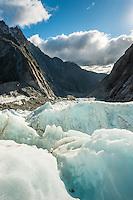 Looking into valley across crevasses on Franz Josef Glacier, Westland Tai Poutini National Park, West Coast, UNESCO World Heritage Area, South Westland, New Zealand, NZ