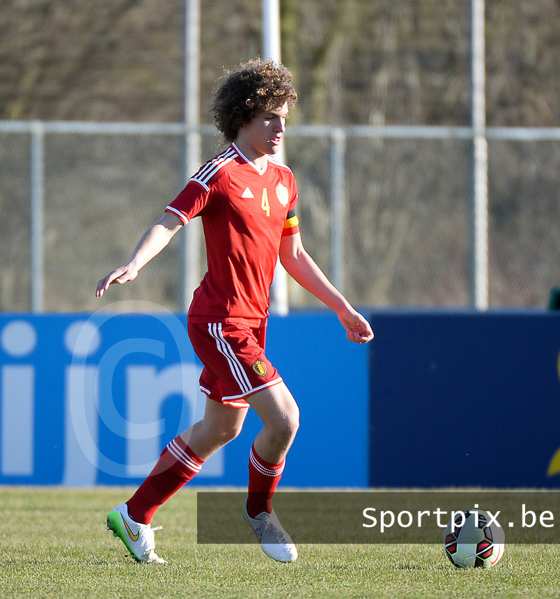 20150312 - GENDT , NETHERLANDS  : Belgian Wout Faes pictured during the soccer match between Under 17 teams of  Belgium and Northern Ireland , on the first matchday in group 3 of the UEFA Elite Round Under 17 at De Bataven Stadion , Gendt , The Netherlands . Thursday  12 th March 2015 . PHOTO DAVID CATRY