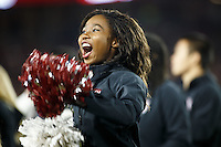 Stanford, CA - November 26, 2016: Cheerleader during the Stanford vs Rice game Saturday at Stanford Stadium.<br /> <br /> Stanford won 41- 17.