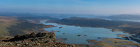 Panoramic view over lake Laitaure from summit of Skierfe, near Aktse hut, Kungsleden trail, Lapland, Sweden