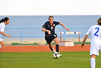 Heather O'Reilly challenges the Icelandic defense. The USWNT defeated Iceland (2-0) at Vila Real Sto. Antonio in their opener of the 2010 Algarve Cup on February 24, 2010.