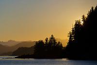 Coastal landscape along the shores of Prince William Sound, Chugach National Forest, Alaska.