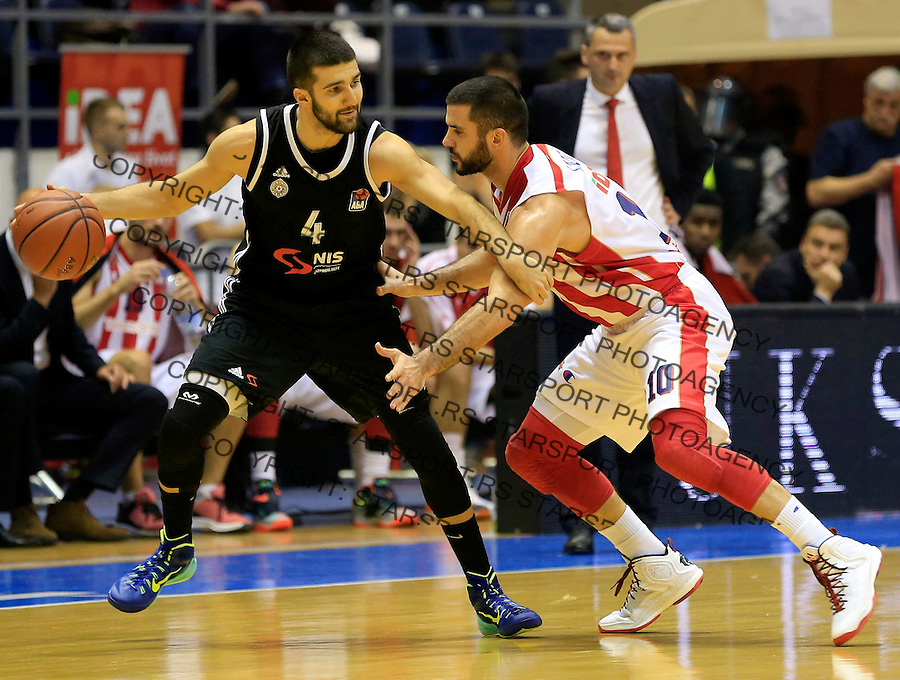 Kosarka ABA League season 2015-2016<br /> Crvena Zvezda v Partizan<br /> Aleksandar Cvetkovic and Branko Lazic (R)<br /> Beograd, 03.11.2015.<br /> foto: Srdjan Stevanovic/Starsportphoto&copy;