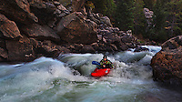 Cindy Fornstrom paddles her Jackson Villain kayak down a rapid in Waterton Canyon, CO