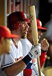 21 August 2009: Washington Nationals' first baseman Adam Dunn sits in the hole during a game against the Milwaukee Brewers at Nationals Park in Washington, DC. The Nationals fell to the Brewers 7-3, in the first game of their four-game series. Mandatory Credit: Ed Wolfstein Photo