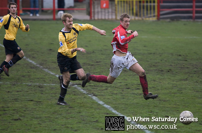 Workington AFC 0 Boston United 1, 24/02/2008. Borough Park, Blue Square North. The hosts pressing for an equaliser at the uncovered Derwent end of the ground the Blue Square North fixture between hosts Workington AFC (red) and Boston United at Borough Park. The visitors won with a solitary sixth-minute goal by Jon Rowan in front of 388 spectators. Both Workington AFC and Boston United were members of the Football League, the Cumbrians losing League status in 1977 while the Lincolnshire club were relegated in 2007 and demoted two divisions for financial irregularities. Photo by Colin McPherson.
