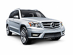Silver 2012 Mercedes-Benz GLK350 4MATIC SUV. Isolated car on white background with clipping path.