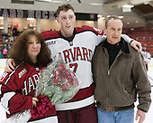 Danny Fick (Harvard - 7) and parents - The Harvard University Crimson honored their seniors following their final home game of the regular season on Saturday, February 22, 2014 at the Bright-Landry Hockey Center in Cambridge, Massachusetts.
