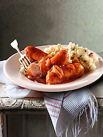 British Food -  Lincolnshire Sausage, Onion Gravy & Mashed Potato