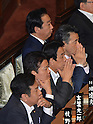 June 26, 2012, Tokyo, Japan - Japans Prime Minister Yoshihiko Noda, background center, and his Cabinet ministers await the result of voting on the sales tax hike legislation during a plenary session of the Diets lower house in Tokyo on Tuesday, June 26, 2012. The House of Representatives passed the sales tax hike legislation with the backing of two main opposition parties by 363 to 96 votes. (Photo by Natsuki Sakai/AFLO)
