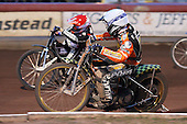 Heat 13: Freddie Lindgren (white) and Lee Richardson - Lakeside Hammers vs Wolverhampton Wolves - Elite League Speedway at Arena Essex Raceway - 16/05/11 - MANDATORY CREDIT: Gavin Ellis/TGSPHOTO - Self billing applies where appropriate - Tel: 0845 094 6026