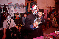April 15th, 1989, Poyang, Jiangxi Province, China. Members of a traveling opera troupe preparing to perform. Roles in Chinese opera are highly codified. All performers take care of their own make up, clothes and props.