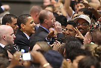 Barack Obama works the rope line at a recent San Antonio rally at the Verizon Wireless Ampitheater on February 29th.  (Marvin Pfeiffer/PressPhotoIntl.com)