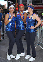 NEW YORK, NY-August 08: Paula Faris, Rachel Smith, Sara Haines at Good Morning America going for GMA Olympic Gold in New York. NY August 08, 2016. Credit:RW/MediaPunch