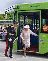 Queen Elizabeth II rides guided bus on visit to Cambridge - UK