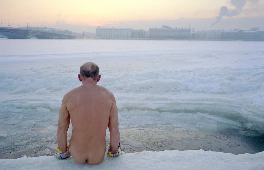 St Petersburg, Russia, January 2003..Petersburgers make the most of the city's famous parks and waterways at any time of the year - a winter swimmer, known as a walrus, by the Peter Paul Fortress in -25 C.