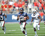 Ole Miss linebacker Mike Marry (52) intercepts a pass and is tackled by Auburn wide receiver Travante Stallworth (85) at Vaught-Hemingway Stadium in Oxford, Miss. on Saturday, October 13, 2012.