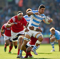 Pablo Matera of Argentina takes on the Tonga defence. Rugby World Cup Pool C match between Argentina and Tonga on October 4, 2015 at Leicester City Stadium in Leicester, England. Photo by: Patrick Khachfe / Onside Images
