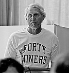 San Francisco 49ers training camp August 3, 1982 at Sierra College, Rocklin, California.  Head Coach Bill Walsh