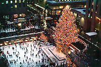 New York City, New York Rockefeller Center, Christmas Tree dusk, Ice Skating Rink