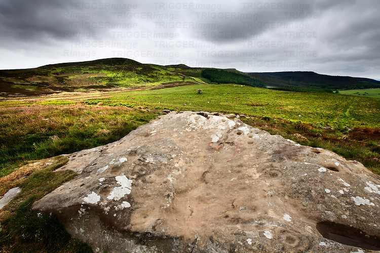 Cup and Ring Marked Rock below the Simonside Hills near Rothbury Northumberland England