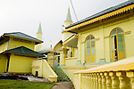 The canary-yellow mosque on the island of Penyenget, a 15-minute boat ride from the harbor of Tanjung Pinang, Bintan's largest city, in Indonesia, on Tuesday, April 20, 2010.
