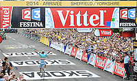 Picture by Simon Wilkinson/SWpix.com - 06/07/2014 - Cycling - Tour de France 2014: Stage 2, York to Sheffield - Yorkshire, England - ProTeam Astana's Vincenzo Nibali celebrates winning stage two in Sheffield.