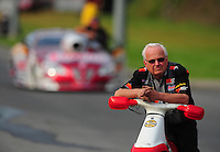 Jun. 19, 2011; Bristol, TN, USA: NHRA pro stock driver Warren Johnson during eliminations at the Thunder Valley Nationals at Bristol Dragway. Mandatory Credit: Mark J. Rebilas-