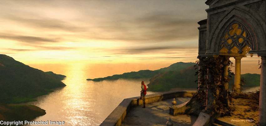 This is a personal project: A knight stands on the parapet of a mountain top temple watching for incoming ships.