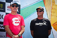 MANLY, NSW/Australia (Sunday, 19 February, 2012)  CEO's Derek O'Neill  Billabong and  Huley's Bob Hurley (USA). – The Australian Open of Surfing at Manly Beach presented by Hurley and Billabong was completed continued  with the Men's ASP 6-Star division, and the Women's ASP 6-Star division decided.  Matt Banting (AUS) defeated Evan Geiselman  (USA)in a tightly fought out the men's final while Sally Fitzgibbons (AUS) defeated Sofia Mulanovich (PRU) in the final women's. Massive crowds packed the beach at Manly today.  Photo: joliphotos.com