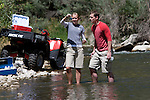 0707-20.College of Biology and Agriculture.Environmental Science Brochure..Mary Pletsch and Nate Bemis collecting samples on the Provo River ..July 17, 2007..Photography by Mark A. Philbrick..Copyright BYU Photo 2007.All Rights Reserved .photo@byu.edu  (801)422-7322.