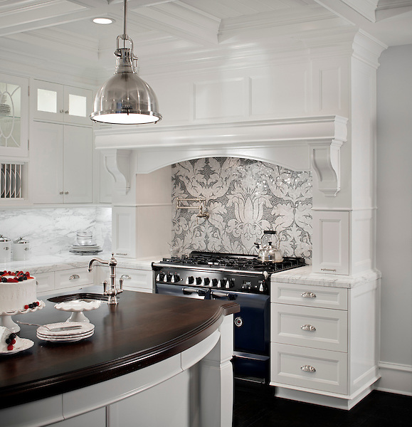 This custom kitchen features a handmade Kingston Lacy backsplash, shown in Calacatta Tia and Bardiglio is by Rogers &amp; Goffigon for New Ravenna.<br /> -photo courtesy of  Model Design.<br /> <br /> For pricing samples and design help, click here: http://www.newravenna.com/showrooms/