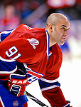 10 April 2010: Montreal Canadiens' center Scott Gomez warms up prior to the last game of their regular season against the Toronto Maple Leafs at the Bell Centre in Montreal, Quebec, Canada. The Leafs defeated the Habs 4-3 in sudden death overtime, as the Canadiens advance to the Stanley Cup Playoffs with the single point. Mandatory Credit: Ed Wolfstein Photo