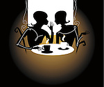 Silhouette of two young woman chatting over a coffee