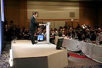 France , Paris , hotel Meridien Montparnasse . Nicolas Sarkozy , candidat de l'UMP a l'election presidentielle 2007 , tient une conference de presse sur la politique internationale . Mercredi 28 fevrier 2007 - ©Jean-Claude Coutausse / french-politics