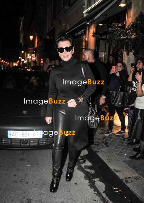 Kim Kardashian, Kanye West, Kris Jenner and Kendall Jenner arriving at Ferdi restaurant in Paris.<br /> France, Paris, September 26, 2014.