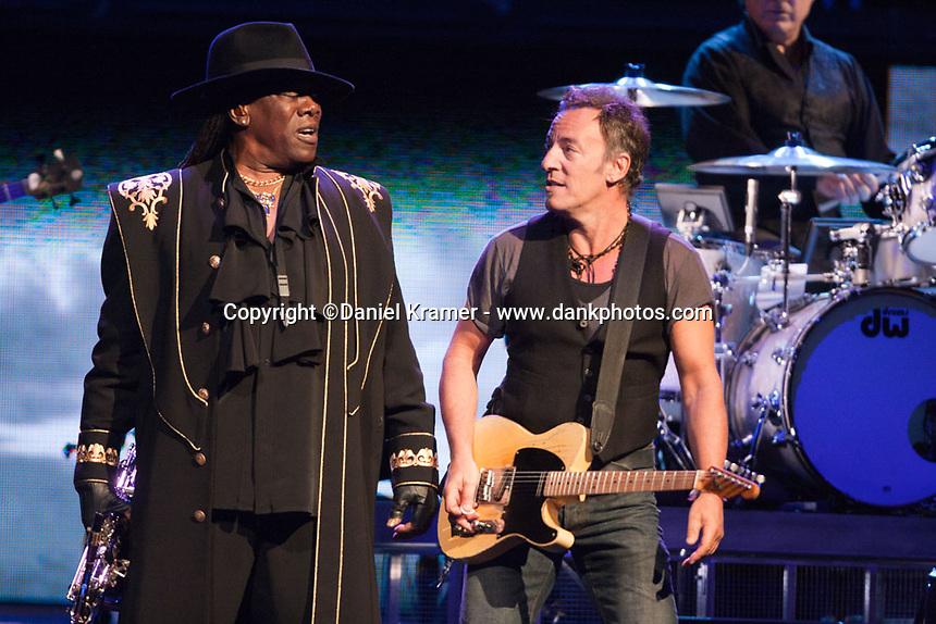 """Clarence Clemens performs with Bruce Springsteen and the E Street Band at the Toyota Center in Houston, Texas on the """"Working on a Dream"""" Tour on April 8, 2009."""