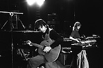 Paul and Linda McCartney Wings Tour 1975. Sound check at the Elstree rehearsal studio London England..