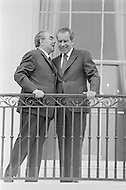 June 18th 1973, Washington, DC, USA. USSR leader Leonid Brezhnev is welcomed by US President Richard Nixon at the White House. Image by © JP Laffont