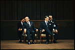 President Ronald Reagan and General Secretary of the Communist Party of the Soviet Union Mikhail Gorbachev with their interpreters at the Geneva Summit. Geneva, Switzerland, November 21, 1985